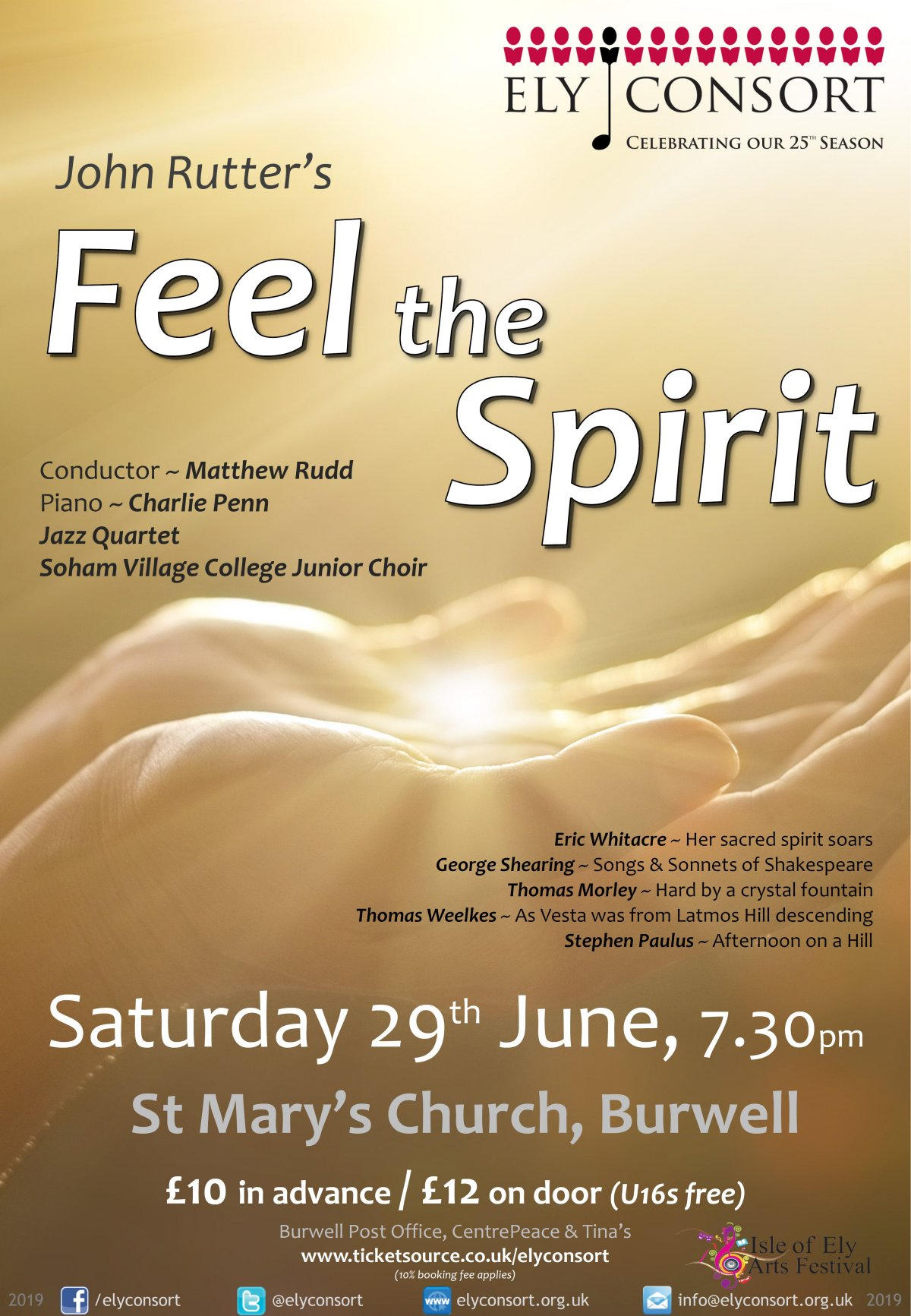 Ely Consort: Feel the Spirit - Sat  29th June 7 30pm - St Mary's